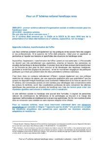 """Première page du plaidoyer complet """"Pour un 3e Schéma national handicaps rares"""""""