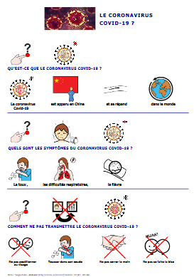 Coronavirus en pictogrammes Arasaac