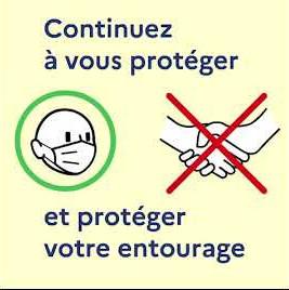 Texte : Continuez à vous protéger et protéger votre entourage