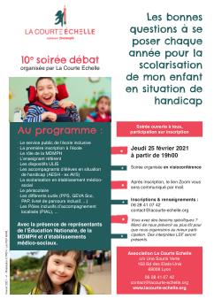 affiche de la soirée débat qui contient le programme, les informations pratiques pour s'inscrire