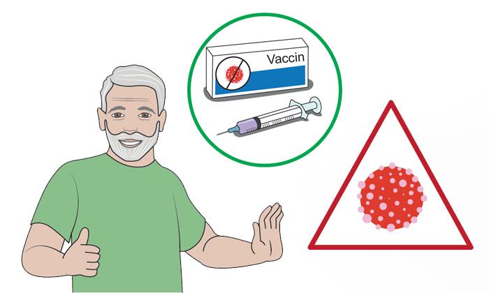 Dessin d'un homme barbu qui éloigne de la main le virus contenu dans un triangle rouge, grâce au vaccin contenu dans un rond vert