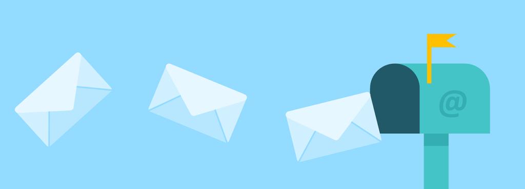 Dessin représentant une boîte aux lettres américaine ouverte sur laquelle est affiché un @ et vers laquelle trois lettres volent
