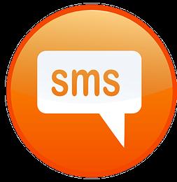 rond orange avec une bulle de dialogue contenant le mot sms